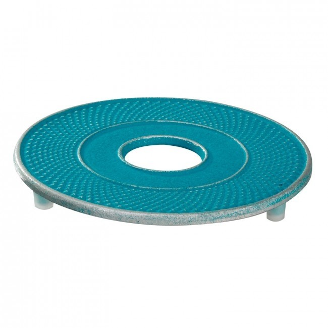 Trivet -  Arare Silver Turquoise - Cast Iron