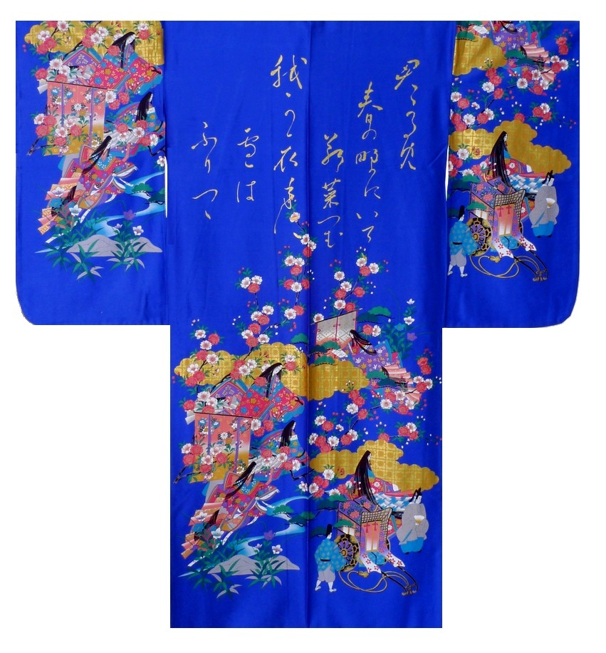 Ladies Kimono - Gilt Poem & Princess - Blue
