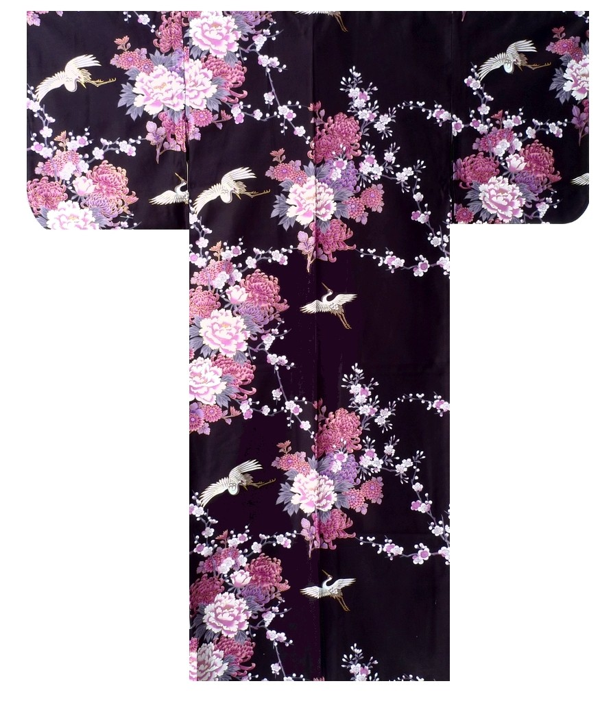 Ladies Kimono - Flying Crane & Peony - Black