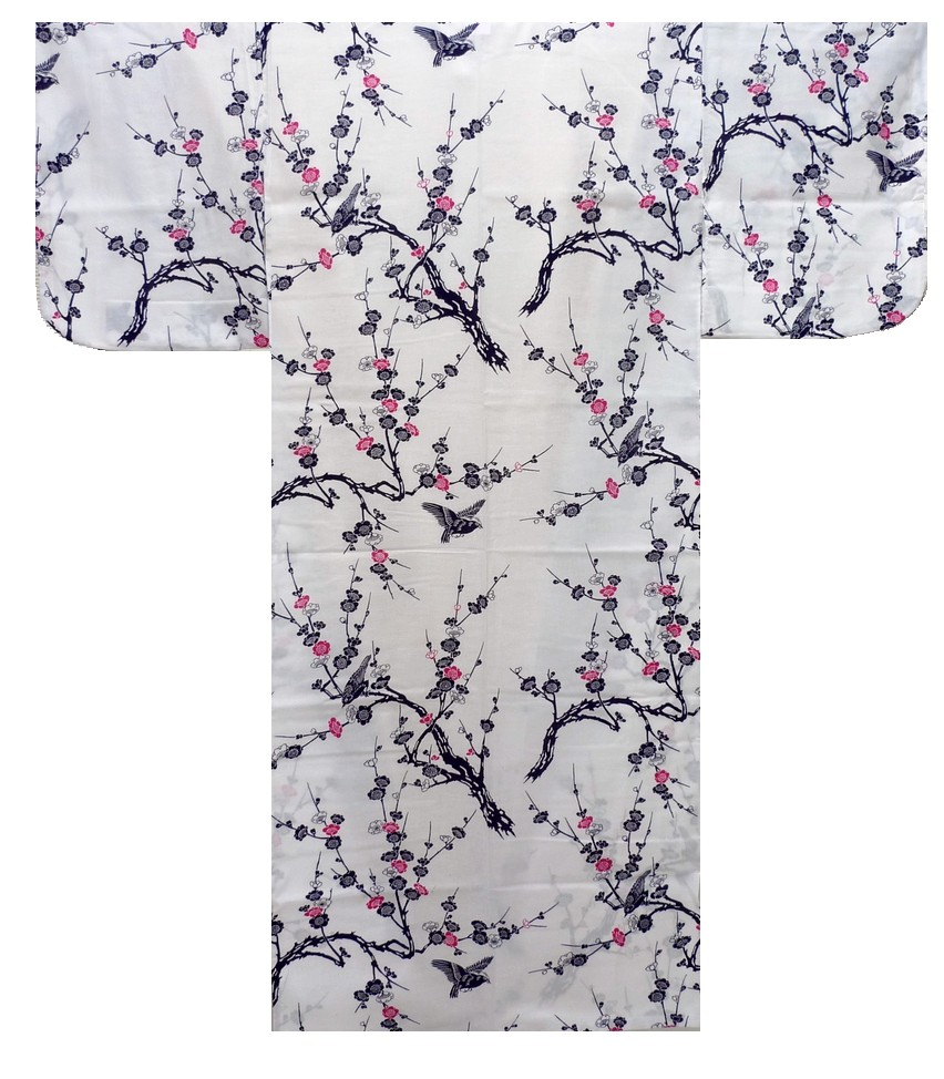 Ladies Yukata - Japanese Plum - White