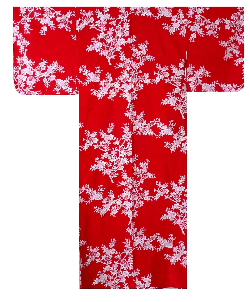 Ladies Yukata - Cherry Blossoms - Red