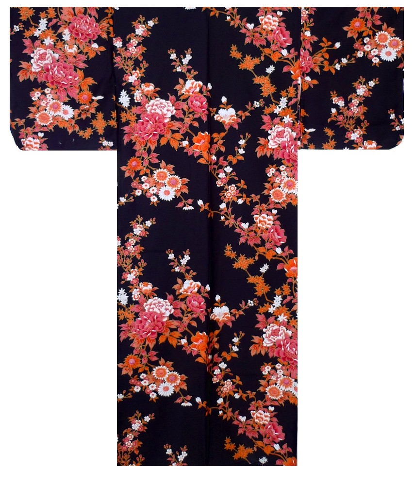Ladies Kimono - Peony & Cherry Blossoms - Black