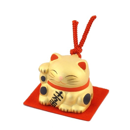 Maneki Neko - Gold Lucky Cat with Bell