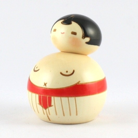 Kokeshi Doll - Sumo Red