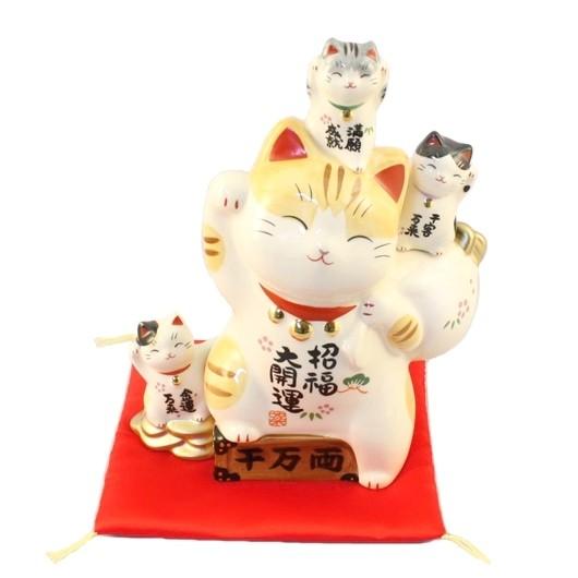 Maneki Neko - Lucky Cat with Trio Bank