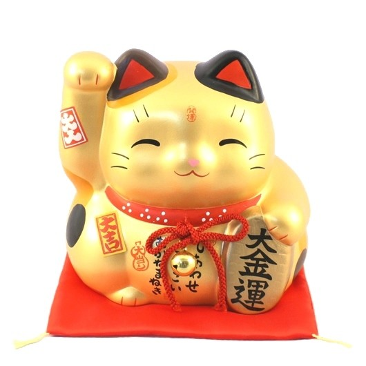 Maneki Neko - Gold lucky cat bank L