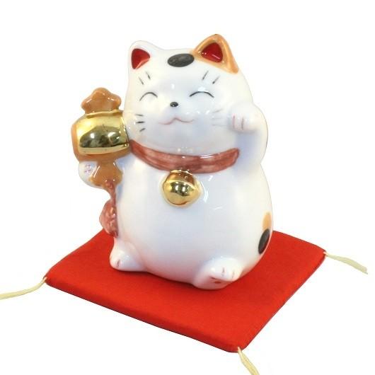 Maneki Neko White Lucky Cat with Mallet