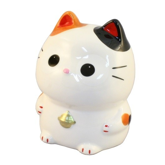 Maneki Neko Calico White Lucky Cat Coin Bank & Big Eyes