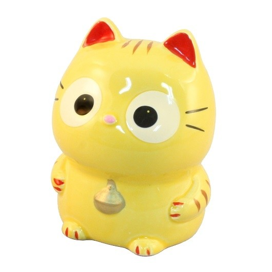 Maneki Neko Tiger Yellow Lucky Cat Coin Bank & Big Eyes