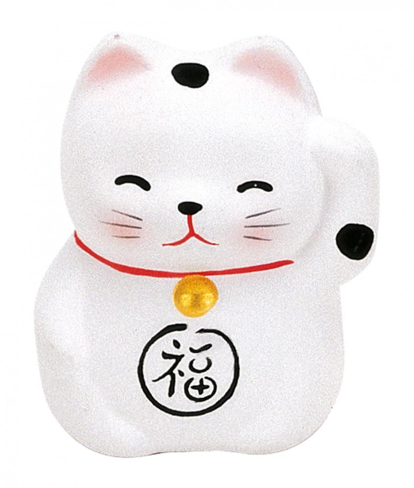 Maneki Neko - Lucky Cat - White - Purity & Happiness - 5.2 cm