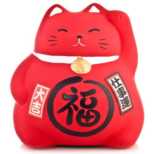 Maneki Neko - Medium Lucky Cat - Red - Protection from Evil & Illness - 9 cm