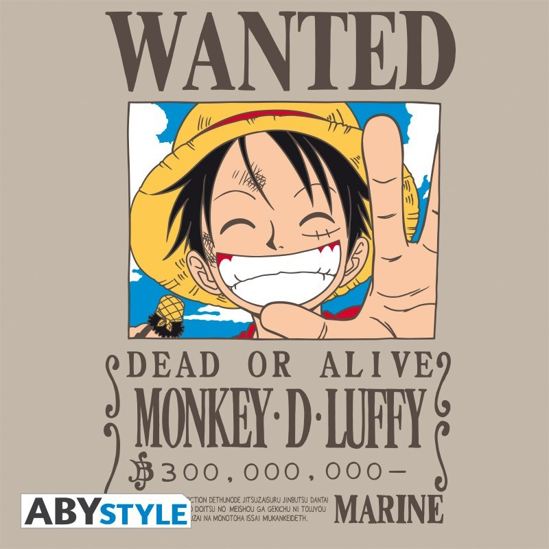 "T-SHIRT ONE PIECE ""Wanted Luffy"" Large"