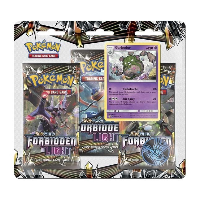 Pokemon TCG Sun & Moon #6 Forbidden Light 3 Booster Packs, Coin & Garbodor Promo Card