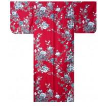 Ladies Kimono - Peony & Cherry Blossoms - Red