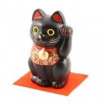 Maneki Neko - Black Lucky Cat L