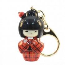 Kokeshi Doll Keyring Kasuri Orange