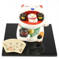 Maneki Neko - Lucky Cat with Small Cat in Mouth