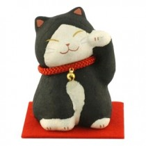 Maneki Neko - Lucky Cat Black Red Neckless with Bell