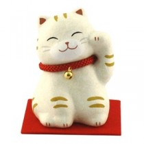 Maneki Neko - White Tiger Red Neckless with Bell