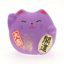 Maneki Neko - Lucky Cat - Purple - Prosperity & Opportunity - 5.5 cm