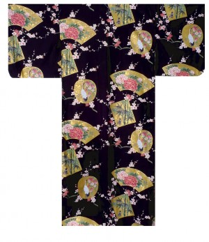 Ladies Kimono - Beautiful Crane - Black