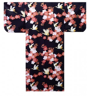 Ladies Yukata - Cherry Blossoms & Crane - Black