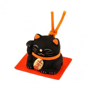 Maneki Neko - Black Lucky Cat with Bell