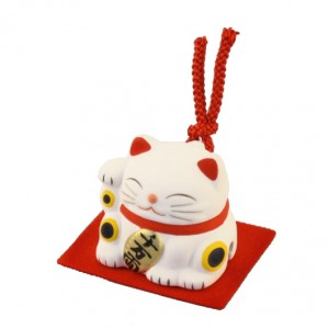 Maneki Neko - White Lucky Cat with Bell