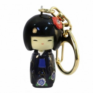 Kokeshi Doll Keyring Furisode Blue (Flower)