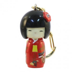 Kokeshi Doll Keyring Furisode Red (Crane)