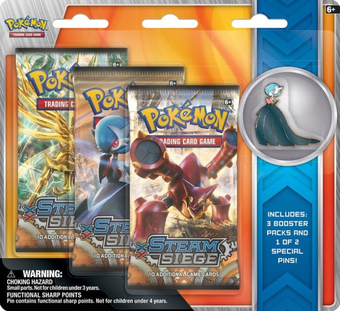 Pokemon TCG - Steam Siege Boosters - 3 Pack of 10 Card + Pins