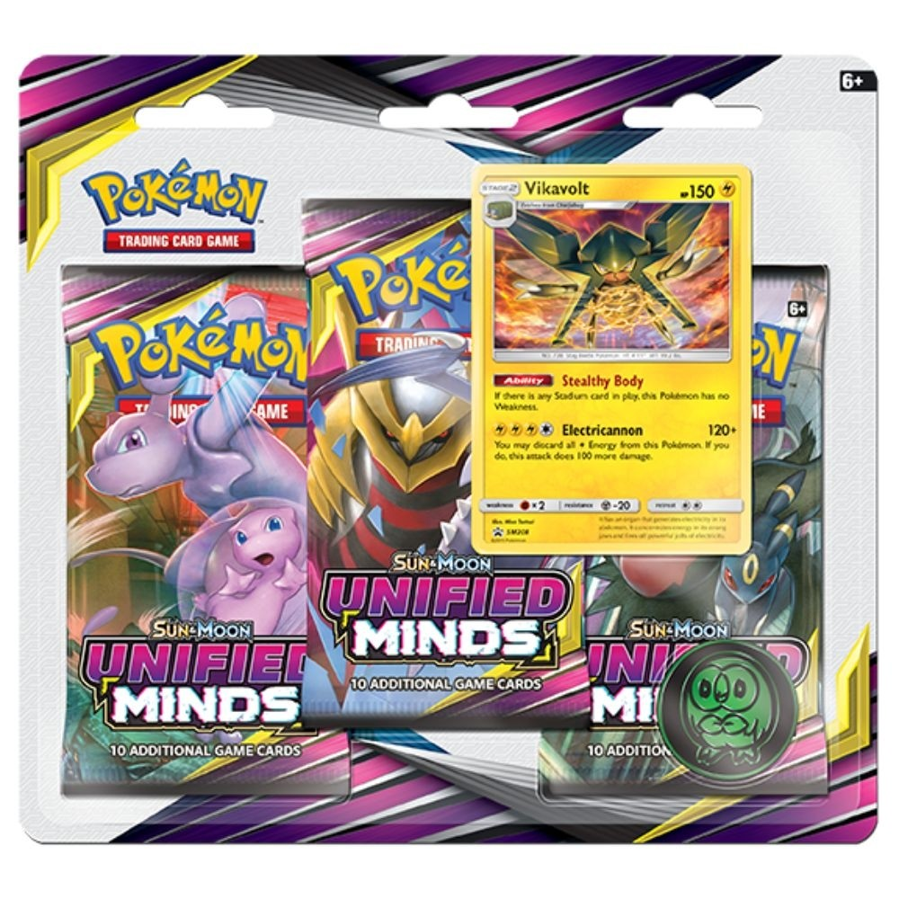 Pokemon TCG Sun & Moon #11 Unified Minds Three-Booster Blister