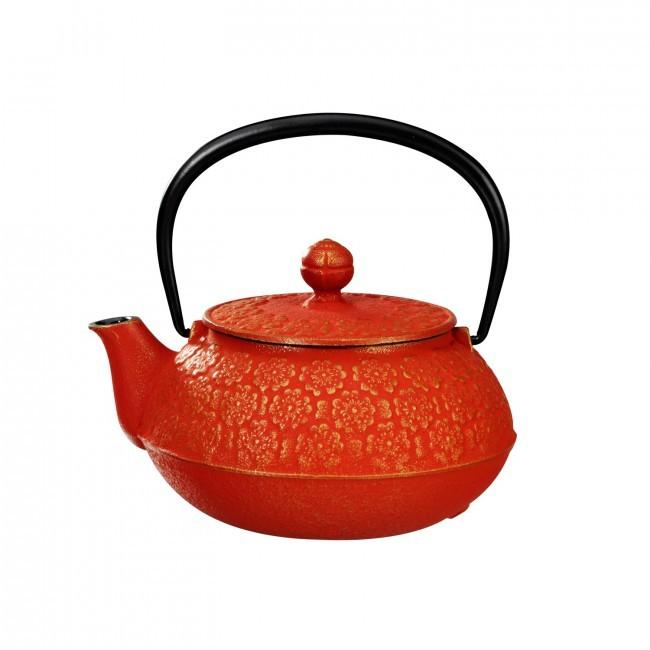 Sakura Gold Red Cast Iron Teapot 0.55L