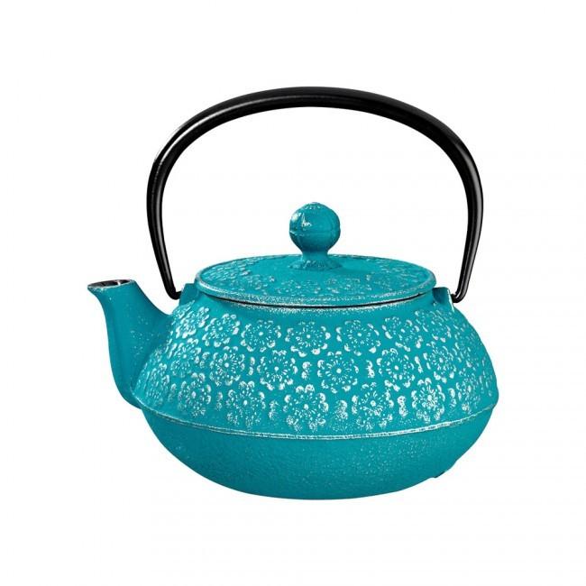 Sakura Silver Turquoise Cast Iron Teapot 0.55L