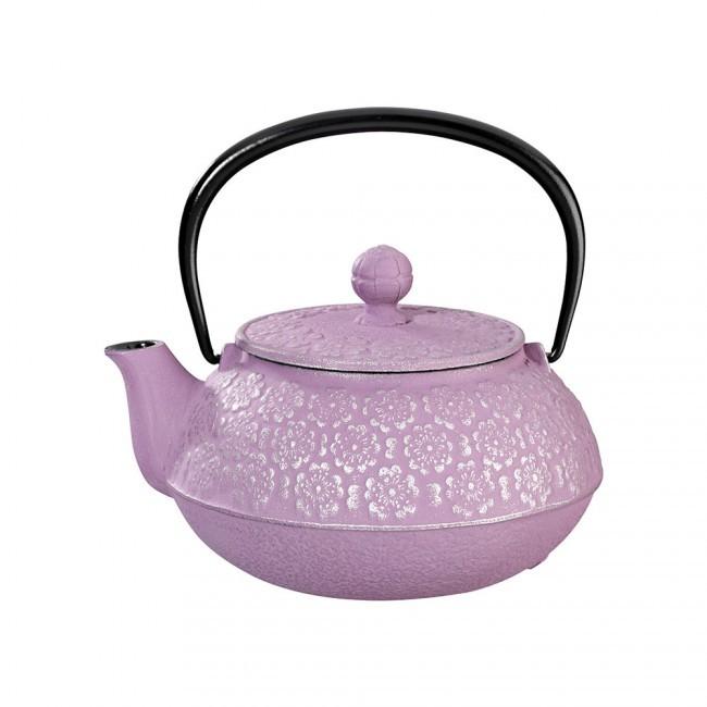 Sakura Silver Purple Cast Iron Teapot 0.55L