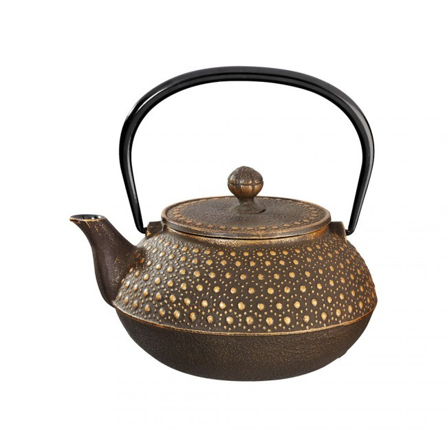 Kikko Gold Brown Cast Iron Teapot 0.55L
