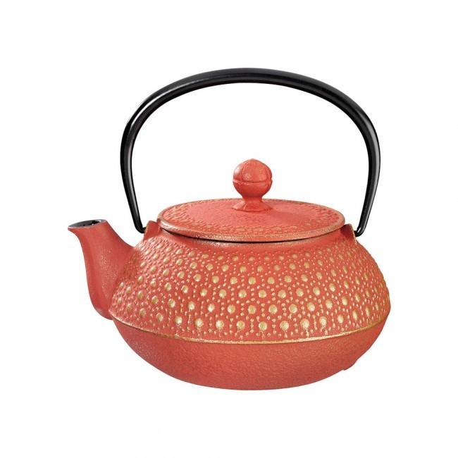 Kikko Gold Red Cast Iron Teapot 0.55L