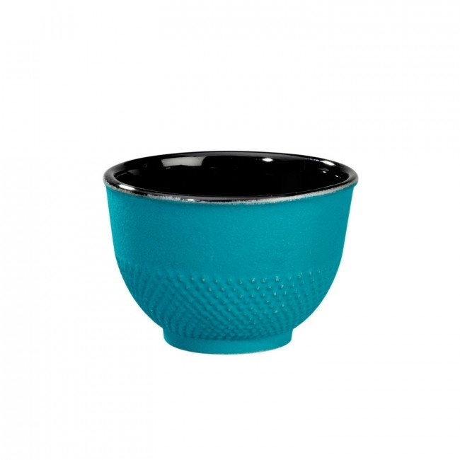 Cup -  Arare Silver Turquoise - Cast Iron