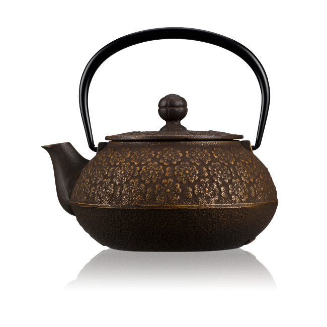 Sakura Gold Brown Cast Iron Teapot 0.55L