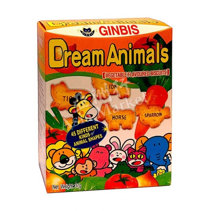 GINBIS - Dream Animals - Vegetable Flavoured Biscuits