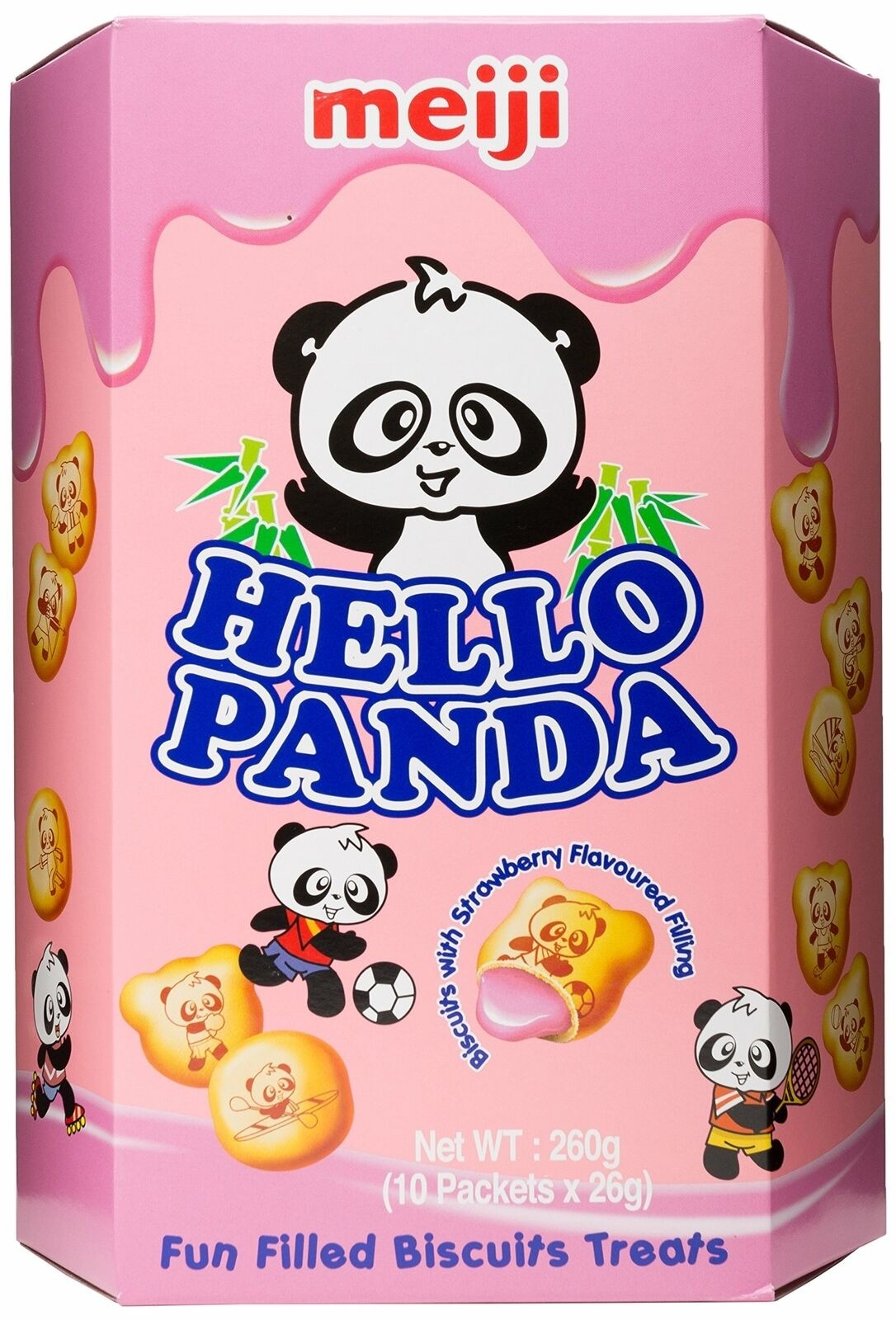 Hello Panda Strawberry Flavoured  Biscuit (26g x 10 packets)