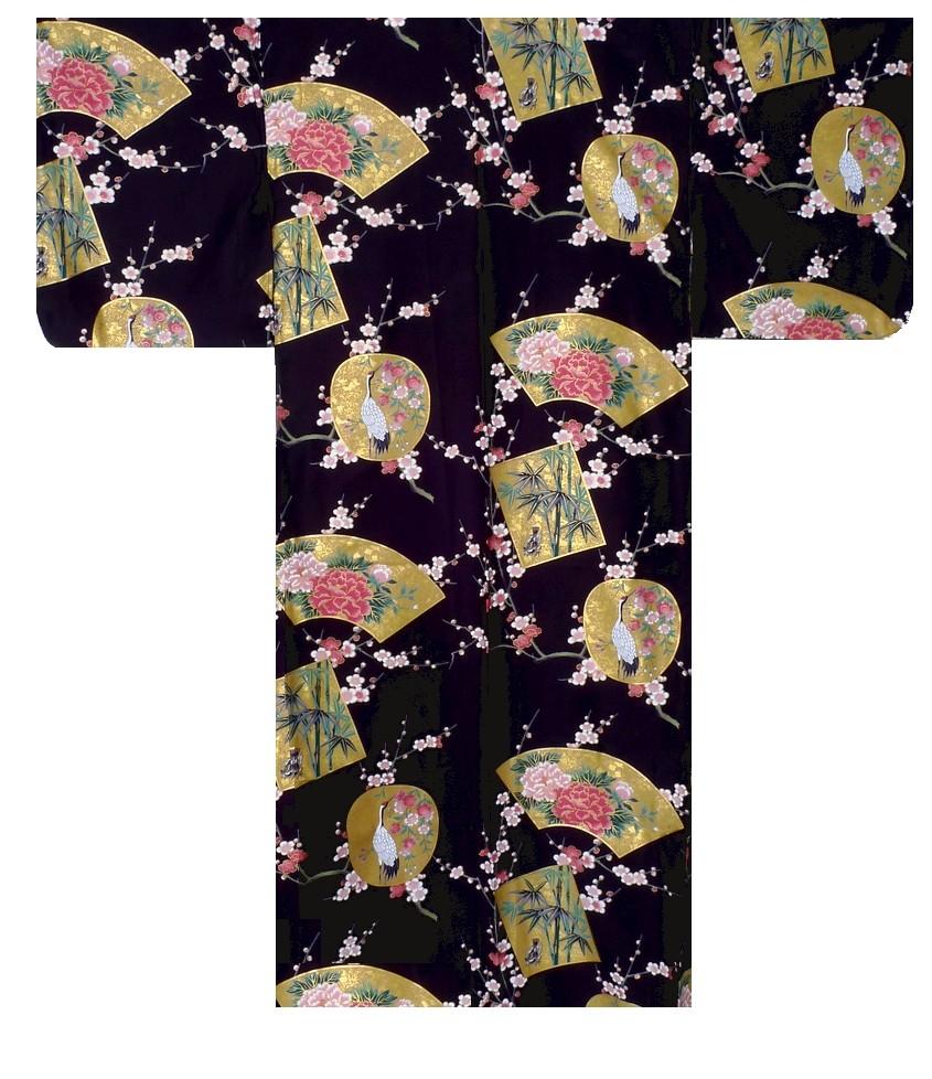 Ladies Kimono - Beautiful Crane - Black