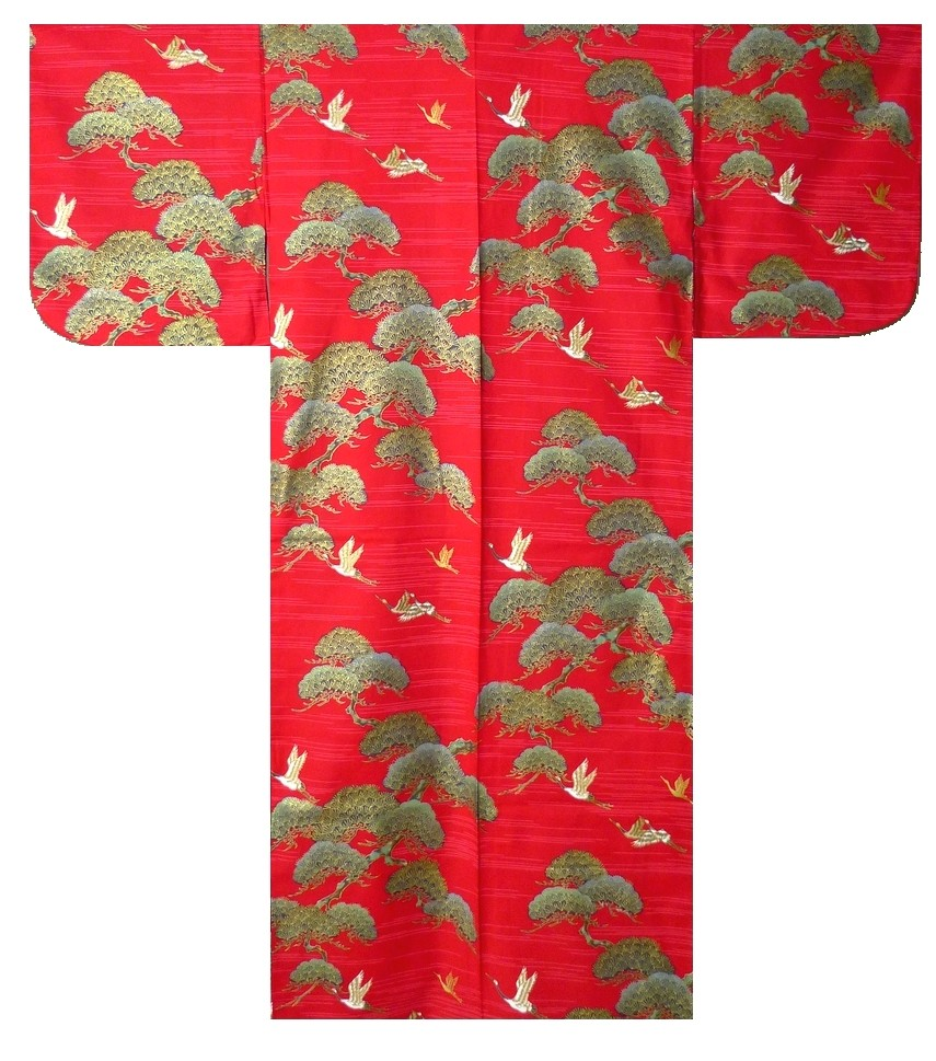 Ladies Yukata - Pine & Crane - Red