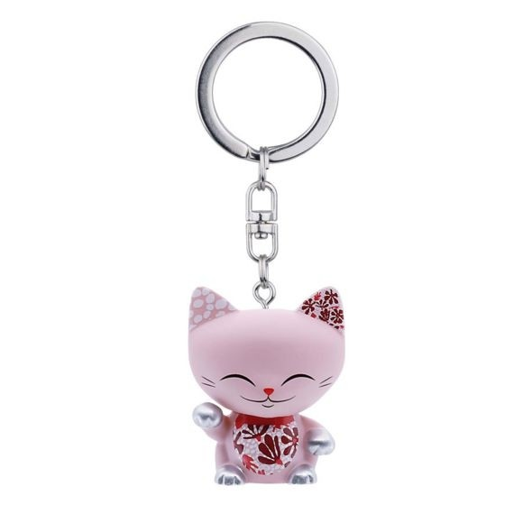 Mani the Lucky Cat Keychain - Pink with Silver Paw