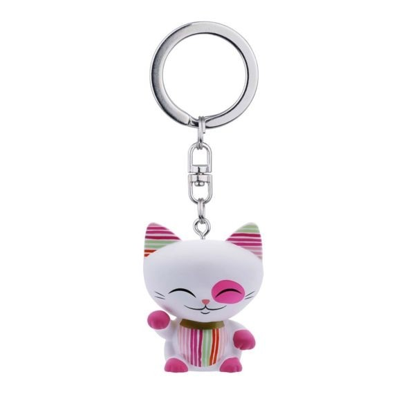 Mani the Lucky Cat Keychain - White with Pink Paw
