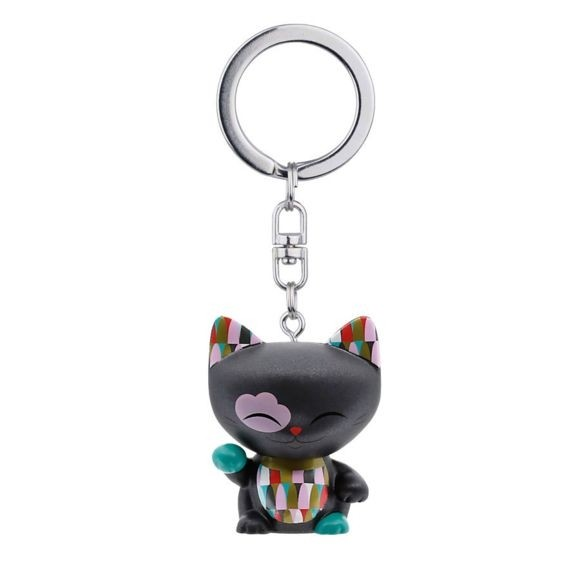 Mani the Lucky Cat Keychain - Black with Green Paw