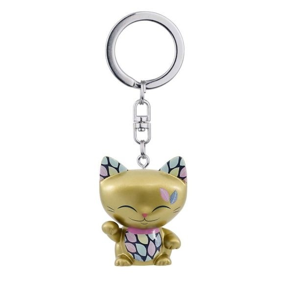 Mani the Lucky Cat Keychain - Gold with Gold Paw
