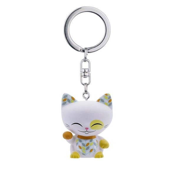 Mani the Lucky Cat Keychain - White with Orange/Gold Paw
