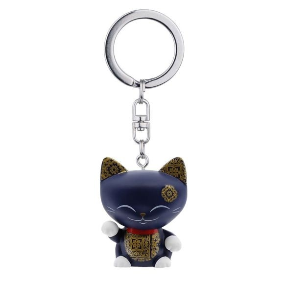 Mani the Lucky Cat Keychain - Dark Blue with White Paw