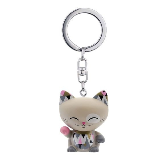 Mani the Lucky Cat Keychain - Khaki with Pink/Dark Gray Paw